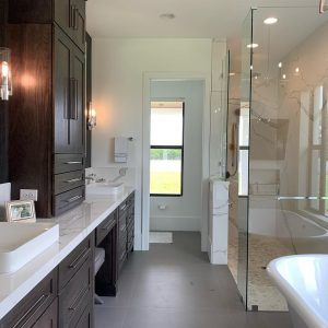 solid stone shower walls
